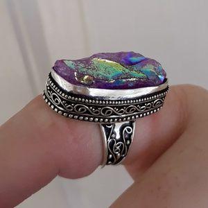 New Purple Titanium Crystal Quartz Silver Ring.